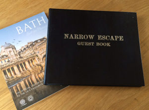 Narrow Escape guest book and book on Bath