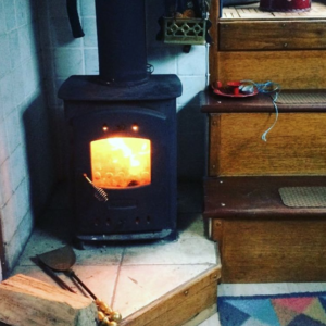 Wood burning stove inside the Narrow Escape