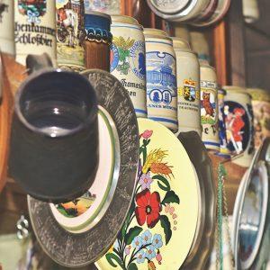 Mugs and plates at a vintage market