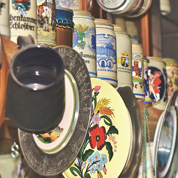 Mugs and plates at a vintage market